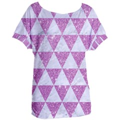 Triangle3 White Marble & Purple Glitter Women s Oversized Tee by trendistuff