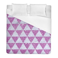 Triangle3 White Marble & Purple Glitter Duvet Cover (full/ Double Size) by trendistuff