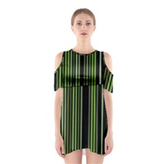 Shades Of Green Stripes Striped Pattern Shoulder Cutout One Piece