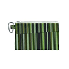 Shades Of Green Stripes Striped Pattern Canvas Cosmetic Bag (small) by yoursparklingshop
