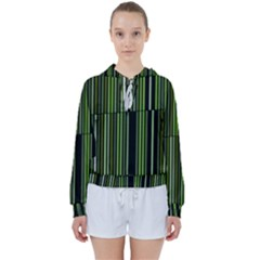 Shades Of Green Stripes Striped Pattern Women s Tie Up Sweat by yoursparklingshop