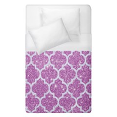 Tile1 White Marble & Purple Glitter Duvet Cover (single Size)