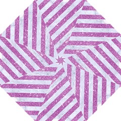 Stripes3 White Marble & Purple Glitter (r) Golf Umbrellas by trendistuff
