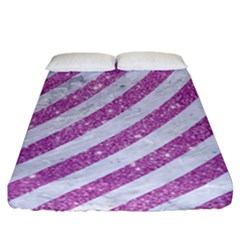 Stripes3 White Marble & Purple Glitter (r) Fitted Sheet (california King Size) by trendistuff