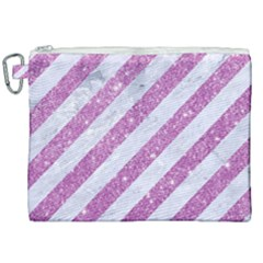 Stripes3 White Marble & Purple Glitter (r) Canvas Cosmetic Bag (xxl)