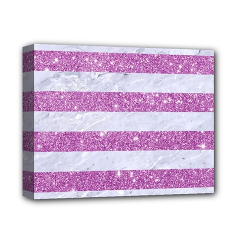 Stripes2white Marble & Purple Glitter Deluxe Canvas 14  X 11  by trendistuff