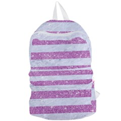 Stripes2white Marble & Purple Glitter Foldable Lightweight Backpack