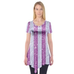 Stripes1 White Marble & Purple Glitter Short Sleeve Tunic