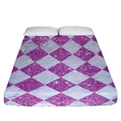 Square2 White Marble & Purple Glitter Fitted Sheet (california King Size) by trendistuff