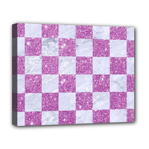 Square1 White Marble & Purple Glitter Deluxe Canvas 20  X 16   by trendistuff