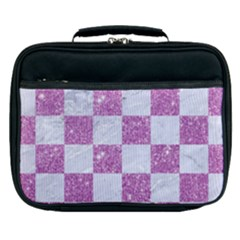 Square1 White Marble & Purple Glitter Lunch Bag by trendistuff