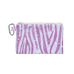 Skin4 White Marble & Purple Glitter Canvas Cosmetic Bag (small) by trendistuff