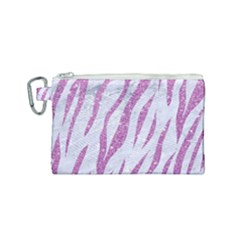 Skin3 White Marble & Purple Glitter (r) Canvas Cosmetic Bag (small) by trendistuff