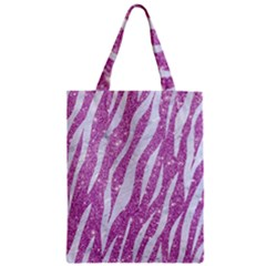 Skin3 White Marble & Purple Glitter Zipper Classic Tote Bag by trendistuff