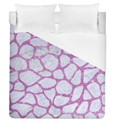 Skin1 White Marble & Purple Glitter Duvet Cover (queen Size) by trendistuff