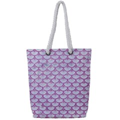 Scales3 White Marble & Purple Glitter (r) Full Print Rope Handle Tote (small) by trendistuff
