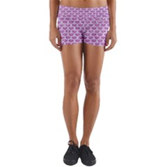 Scales3 White Marble & Purple Glitter Yoga Shorts