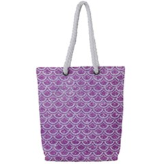 Scales2 White Marble & Purple Glitter Full Print Rope Handle Tote (small) by trendistuff