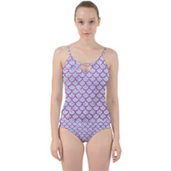 Scales1 White Marble & Purple Glitter (r) Cut Out Top Tankini Set