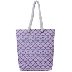 Scales1 White Marble & Purple Glitter (r) Full Print Rope Handle Tote (small) by trendistuff