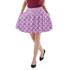Scales1 White Marble & Purple Glitter A Line Pocket Skirt