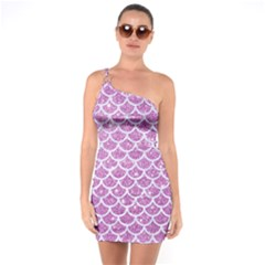 Scales1 White Marble & Purple Glitter One Soulder Bodycon Dress
