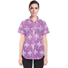 Royal1 White Marble & Purple Glitter (r) Women s Short Sleeve Shirt