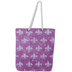 Royal1 White Marble & Purple Glitter (r) Full Print Rope Handle Tote (large)