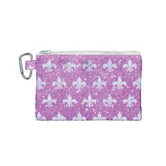 Royal1 White Marble & Purple Glitter (r) Canvas Cosmetic Bag (small) by trendistuff