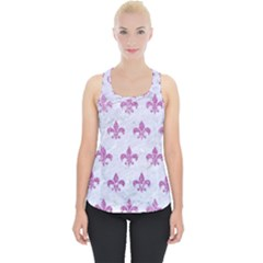 Royal1 White Marble & Purple Glitter Piece Up Tank Top by trendistuff