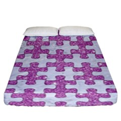 Puzzle1 White Marble & Purple Glitter Fitted Sheet (king Size) by trendistuff