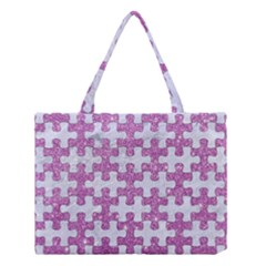 Puzzle1 White Marble & Purple Glitter Medium Tote Bag by trendistuff