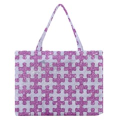 Puzzle1 White Marble & Purple Glitter Zipper Medium Tote Bag by trendistuff