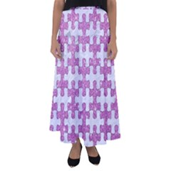 Puzzle1 White Marble & Purple Glitter Flared Maxi Skirt by trendistuff