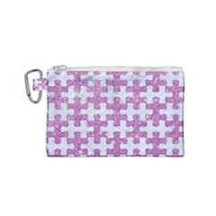Puzzle1 White Marble & Purple Glitter Canvas Cosmetic Bag (small) by trendistuff