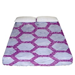 Hexagon2 White Marble & Purple Glitter (r) Fitted Sheet (king Size) by trendistuff