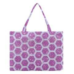 Hexagon2 White Marble & Purple Glitter Medium Tote Bag by trendistuff
