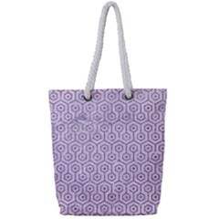 Hexagon1 White Marble & Purple Glitter (r) Full Print Rope Handle Tote (small) by trendistuff