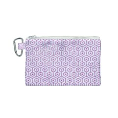 Hexagon1 White Marble & Purple Glitter (r) Canvas Cosmetic Bag (small)