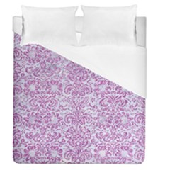 Damask2 White Marble & Purple Glitter (r) Duvet Cover (queen Size) by trendistuff