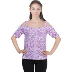 Damask2 White Marble & Purple Glitter Cutout Shoulder Tee by trendistuff