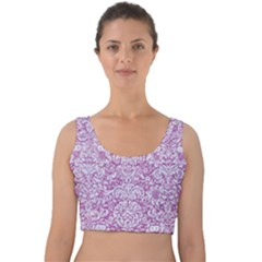 Damask2 White Marble & Purple Glitter Velvet Crop Top
