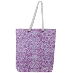 Damask2 White Marble & Purple Glitter Full Print Rope Handle Tote (large) by trendistuff