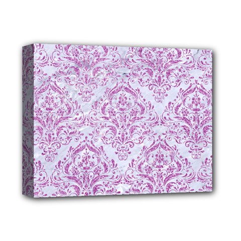 Damask1 White Marble & Purple Glitter (r) Deluxe Canvas 14  X 11  by trendistuff