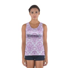 Damask1 White Marble & Purple Glitter (r) Sport Tank Top  by trendistuff