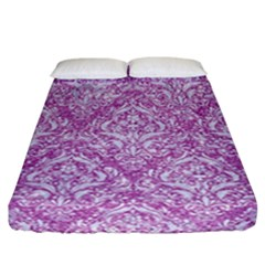 Damask1 White Marble & Purple Glitter Fitted Sheet (california King Size) by trendistuff