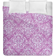 Damask1 White Marble & Purple Glitter Duvet Cover Double Side (king Size) by trendistuff