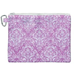 Damask1 White Marble & Purple Glitter Canvas Cosmetic Bag (xxl)