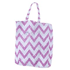 Chevron9 White Marble & Purple Glitter (r) Giant Grocery Zipper Tote by trendistuff