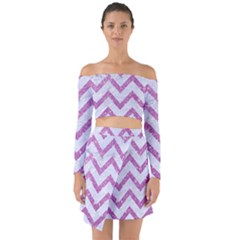 Chevron9 White Marble & Purple Glitter (r) Off Shoulder Top With Skirt Set